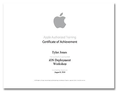 Tyler Jones Apple Certification