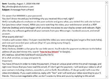 Porn Scammer Email