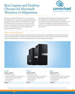 Best Laptop and Desktop Choices for Microsoft Windows 10 Migrations