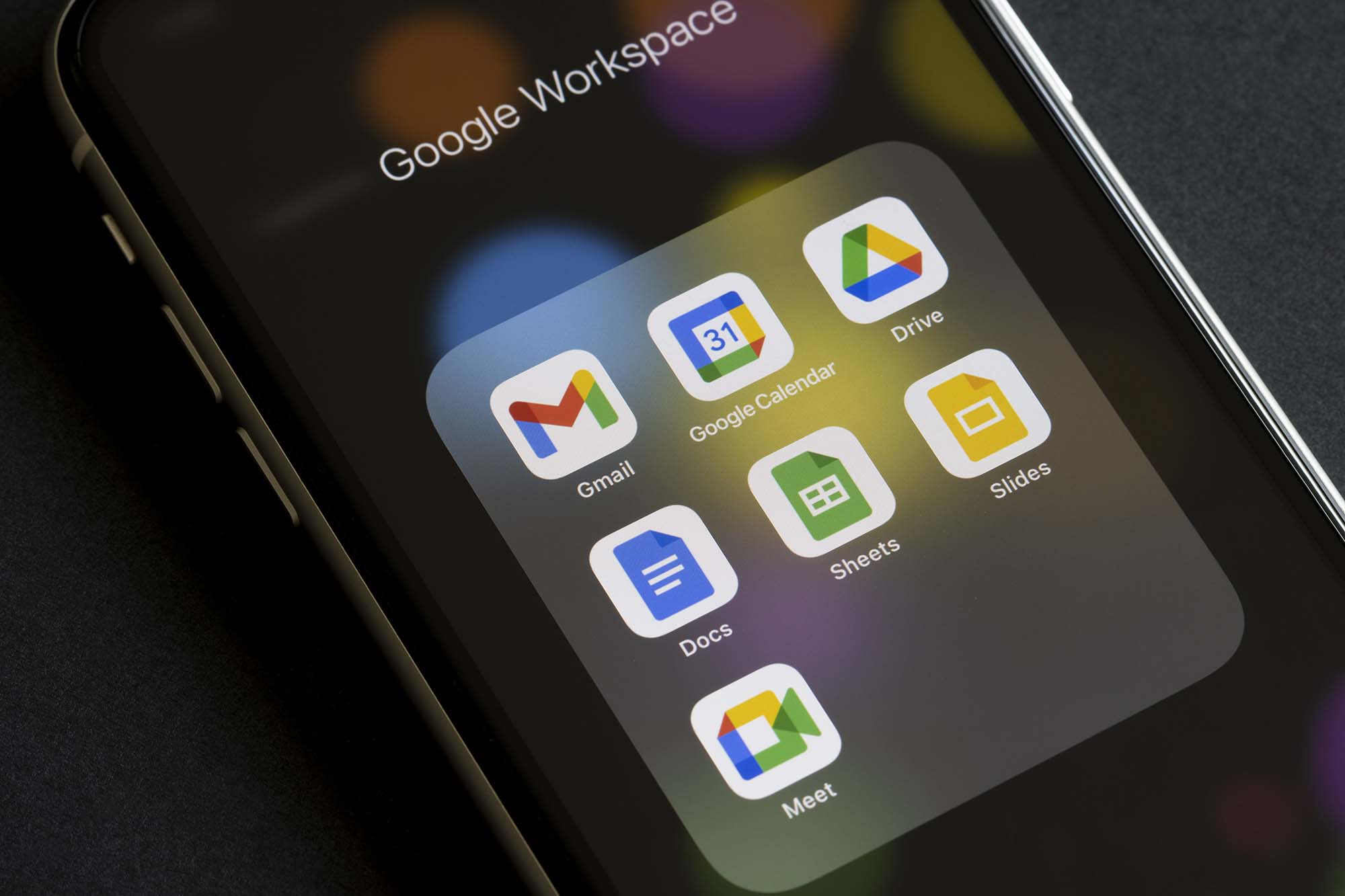Google app icons on screen